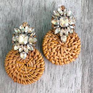 Jeweled wicker earring